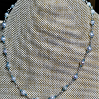 Sky blue crystal necklace with White cultured pearls