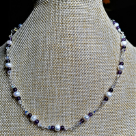 White pearl and amethyst necklace with ab crystals