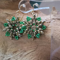 Snowflake Gold and Green earrings