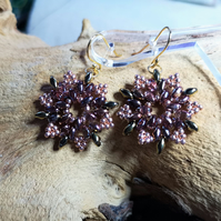 Snowflake crystal gold earrings