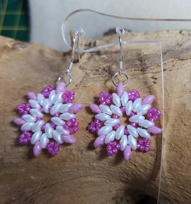 Snowflake pink and white earrings
