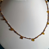 "Yellow Chalcedony and Amethyst 20"" necklace"