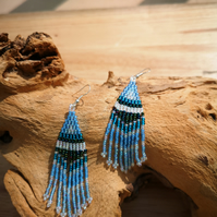 Sterling Silver Blue Native Indian seed beaded tassel earrings