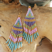 Sterling Silver Gold Plated Multi Coloured  Seed Beaded Tassel Earrings