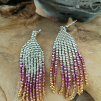 Sterling Silver pink and silver Native Indian seed beaded tassel earrings