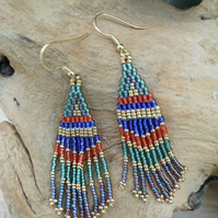 Sterling Silver Gold Plated Native Indian seed beaded tassel earrings
