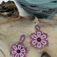 Sterling silver star shaped pink seed beaded earrings with garnet