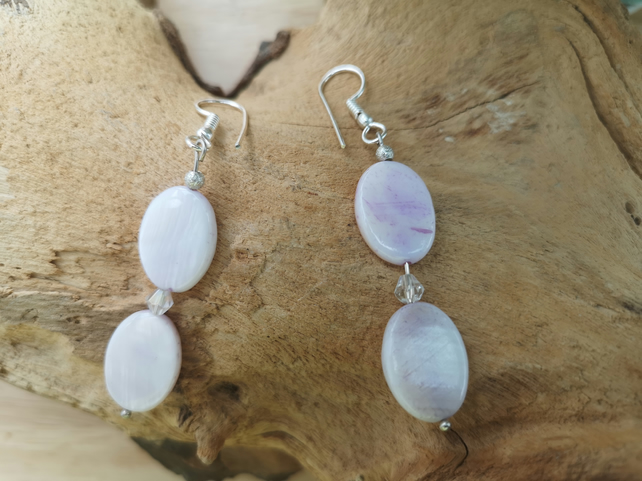 Shell Pearl lilac earrings with crystals