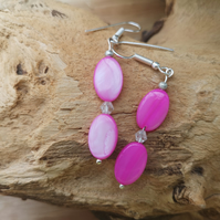 Pink Oval shell pearl dangle earrings with crystals