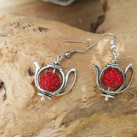 Red crystal pava teapot charm earrings