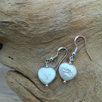 Sterling silver freshwater cultured heart shaped pearls