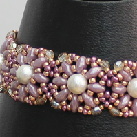 Filigree Pearl Bracelet with crystals and mauve seed beads