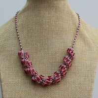 "Grey and Pink 18"" spiral necklace"