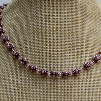 Purple and Pink flower beaded necklace