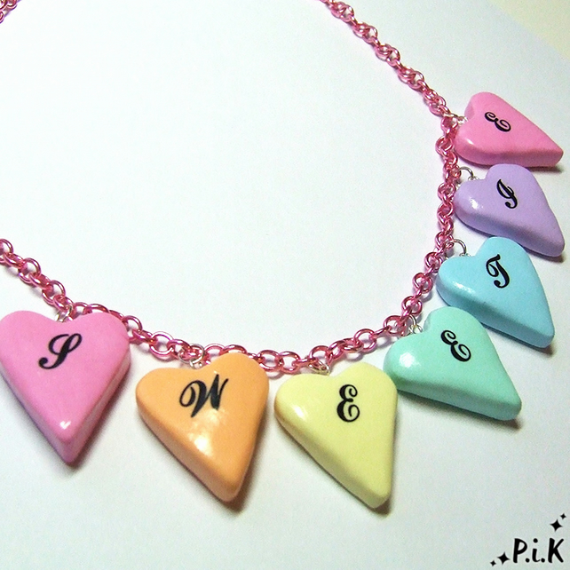 Pastel Hearts SWEETIE Necklace - pastel coloured clay hearts spell out Sweetie