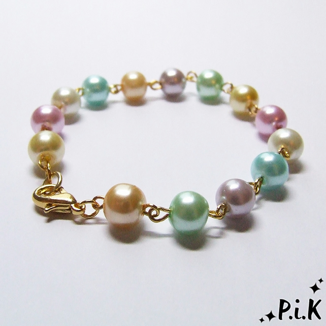 Pretty Beaded Pastel Glass Faux - Pearl Bracelet
