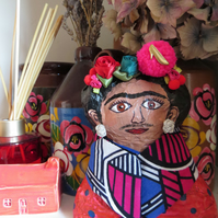 Mexican Kitsch Frida Kahlo paper mache sculpture doll