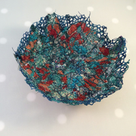 Blue and Gold Thread Bowl