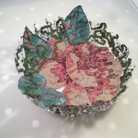 Vintage Rose Fabric Bowl
