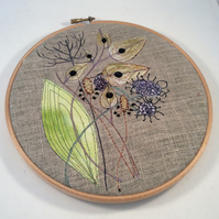 Embroidered Hedgerow Hoop Hanging