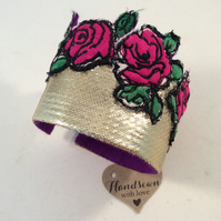 Glitzy Gold and Pink Embroidered Silk Cuff