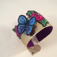 Pink Flowers and Blue Butterfly Embroidered Cuff