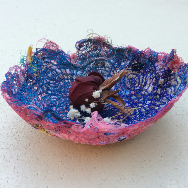 Blue And Pink Thread Bowl