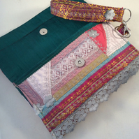 Embroidered Silk Wristlet