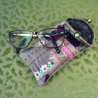 Luxurious Silk and Embroidery Glasses Case