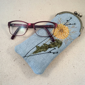 Embroidered Dandelion Glasses Case
