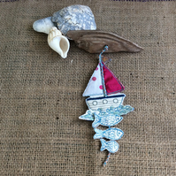 Seaside Driftwood and Boat Hanging