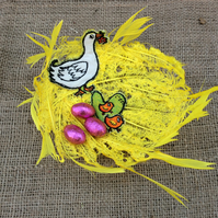 Bright Yellow Feathered Easter Bowl