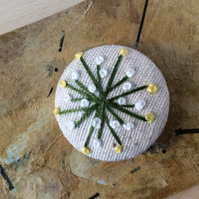 1 Hand Embroidered Fabric Button