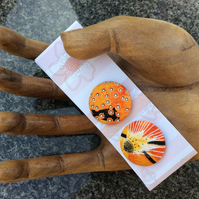Large Bright Orange Fabric Buttons