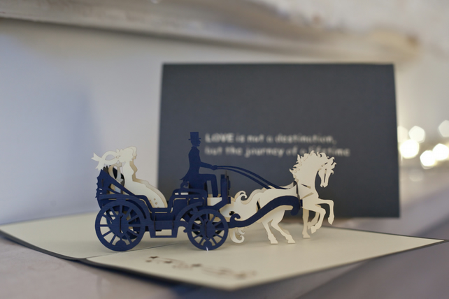 Brides in Carriage Pop Up Card