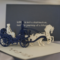 Grooms in Carriage Pop Up Card
