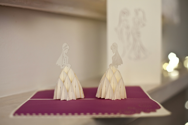 Two Brides Pop-Up Card
