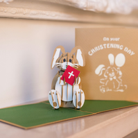 Christening Bunny Pop Up Card