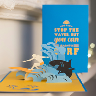 Surfing Pop Up Card