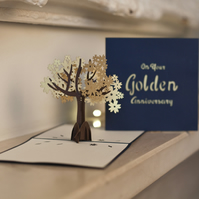 Golden Wedding Anniversary Pop Up Card