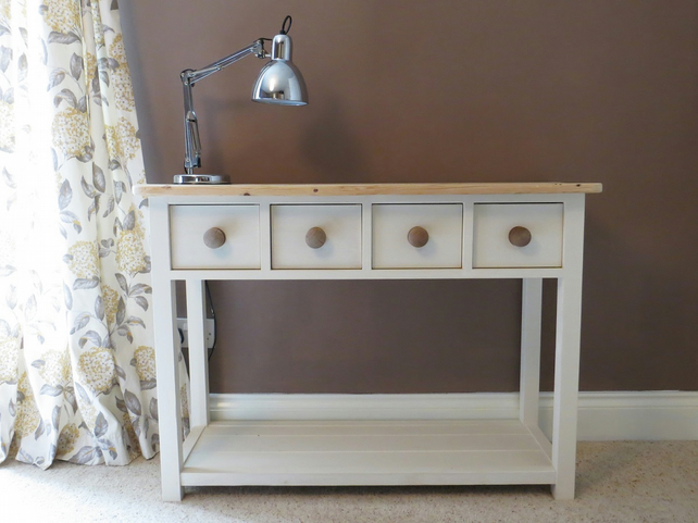 official photos 07864 d1730 Handmade Cream Hall Side Table With Victorian Pine Top
