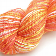 Orange Sorbet - Silky Baby alpaca laceweight yarn