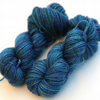 SALE: Restful - Silver Sparkly Superwash merino 4-ply 20g mini skein