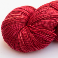 SALE: Sparkly Scarlet - Silver sparkly superwash merino 4 ply yarn