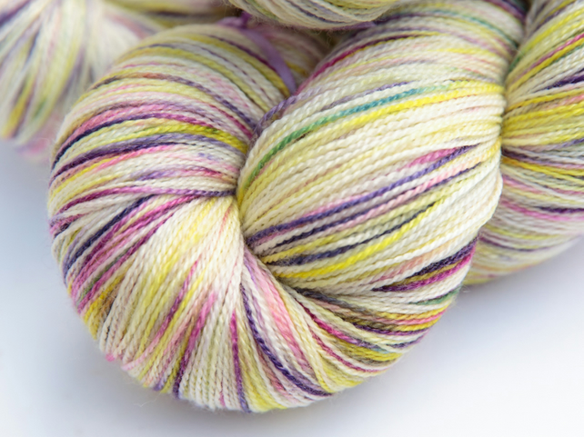 Spring in the Snow - Superwash merino bamboo laceweight yarn