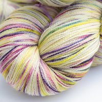 SALE: Spring in the Snow - Superwash merino bamboo laceweight yarn