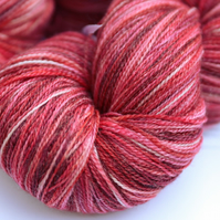 SALE: Strawberry Cheesecake - Superwash merino-bamboo laceweight yarn