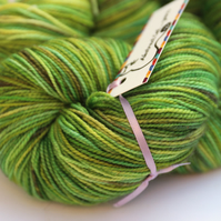 SPECIAL SECOND: Lime Sparkle - Bronze sparkly superwash merino nylon 4 ply yarn