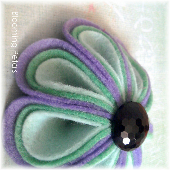 Lavender and Mint 'Blooming Petals' Felt Brooch