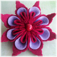 Hot Pink and Lavender Felt 'Duality' Brooch